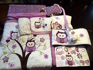 Owl Theme Crib Bedding Set