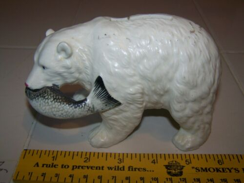 vintage Bear With Fish Money Coin Bank Statue Figurine