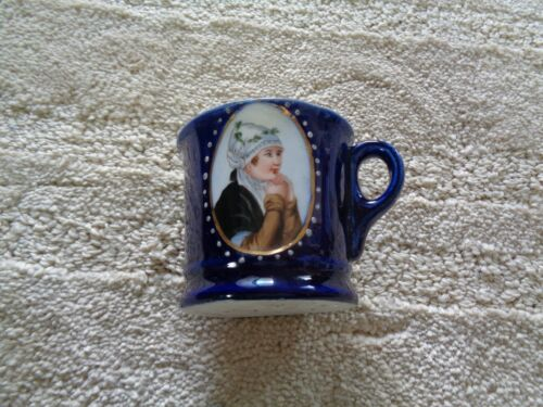 1900 cobalt glue demitasse cup painted lady profile front white raised dots thic