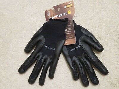 Carhartt C-grip Xl Gloves Thermoplastic Rubber Palm Black Nylon Cotton Knit