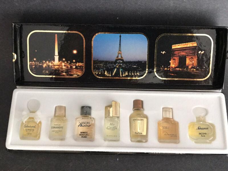 NWB Les Meilleurs Parfums de Paris 7 Mini Perfumes Bottles~Gres Vison Ma Griffe