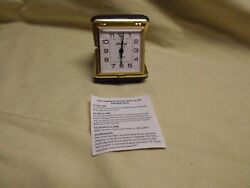 VINTAGE SETH THOMAS Travel Alarm Clock - Tan Case  - Works Great!