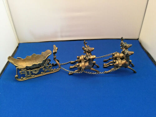 Vintage Solid Brass Santa Sleigh with 4 Chained Reindeer Holiday Decorations
