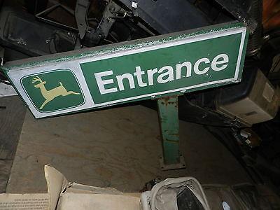 """Vintage Metal 1970's John Deere Dealership ENTRANCE Sign Old Logo 40"""" Tall"""