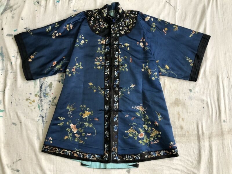 Antique 19thC Qing Dynasty Chinese Embroidered Robe Bats Birds Florals Restyled