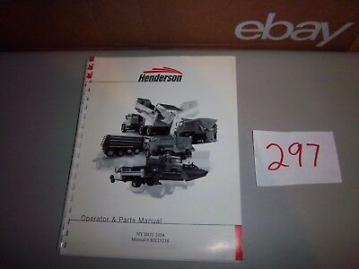 Henderson Salter Salt Spreader And Prewet Operator Parts Manual Catalog Hx25238