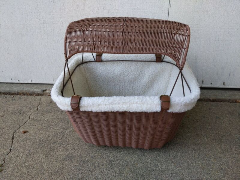 Outdoor Wicker Bicycle Basket Carrier Puppy Pet cat Portable Bike Seat Brown