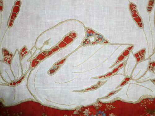 Charming Antique Hand Embroidery & Lace Table Runner-SWAN 38 x13.5""