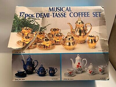 Vintage Red Rose Coffee Tea-Set Made In Japan Music Box 17 Pcs & Original Box