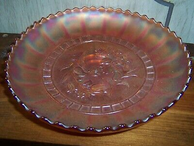 Beautiful Carnival Glass Bowl Frosted Marigold 8""