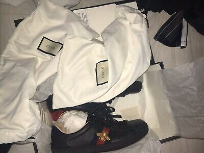 gucci ace bee trainer size 8 (black) 100% Authentic {comes With Dust Bags+cards}