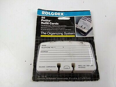 Nip Vintage 1989 Rolodex Petite Refill Cards 50 Count