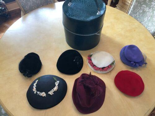 7 Vintage Ladies Hats and Large Hat Box