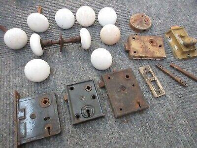 Lot Antique White Porcelain Door Knobs & Mortise Locks Hardware