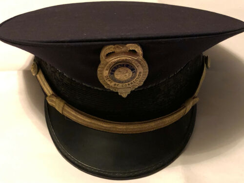 Vintage North Carolina Department of Corrections Uniform Hat with Obsolete Badge