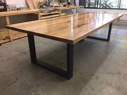 Blackbutt Hardwood Industrial Dining Table Steel Loops Brisbane