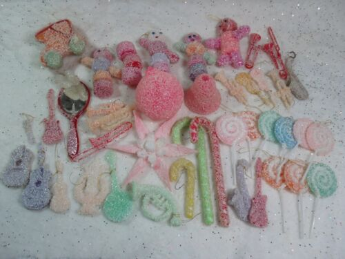 Vintage Plastic Sugar Coated Christmas Ornaments LOT Pinks Candy Men SEE PHOTOS!