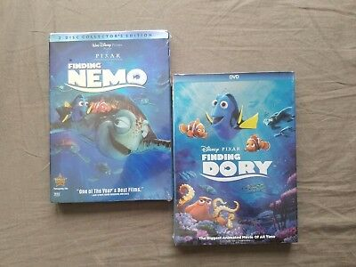 Finding Nemo and Finding Dory 2 Movie Disney Pixar DVD Bundle