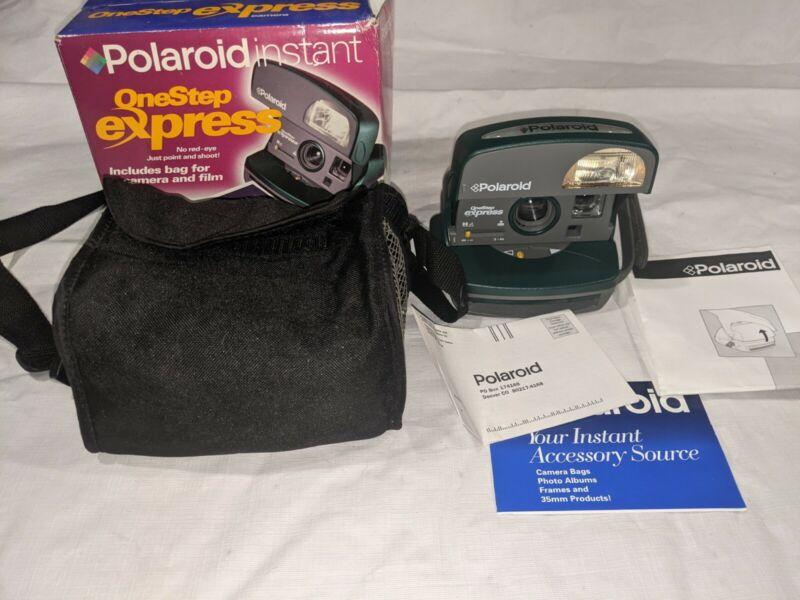 Polaroid 600 One Step Express Instant Film Camera Flash Green & Gray W/ Case