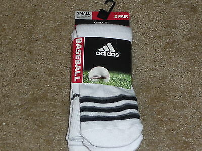 Compression Baseball Socks - 2 PAIRS ADIDAS BASEBALL SOCKS  CLIMALITE CUSHIONED COMPRESSION WHITE SMALL