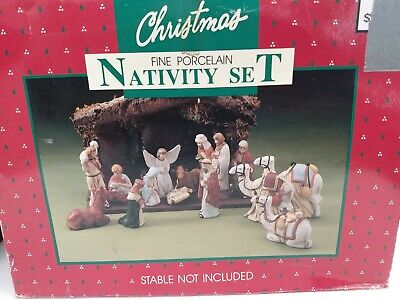 Vintage 15 Piece Nativity Set Hand Painted Fine Porcelain With Stable 1-glued