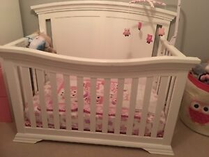 White convertible crib with Change Table