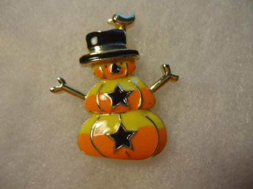 Vintage/nos gold tone enamel Fall Snowman pin