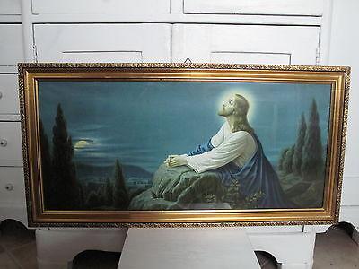 Antik Heiligenbild Schlafzimmerbild Jesus auf Berg in der Nacht Shabby alt Bild