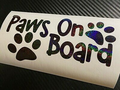 BLACK HOLOGRAPHIC Paws On Board Car Sticker Decal Puppy Walker Pet Guide Dogs K9