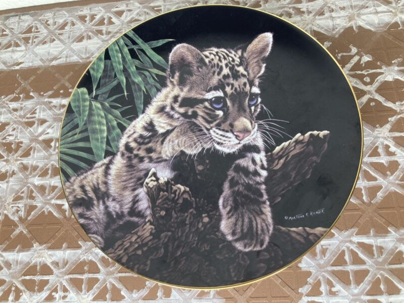 Clouded Leopard Cup Collectors Plate Hamilton Collection Martiena R Richter