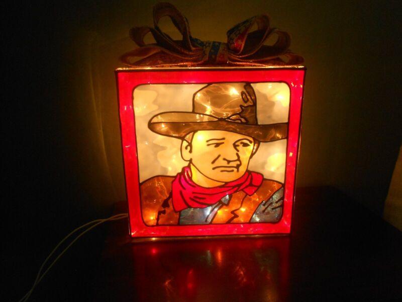 John Wayne inspired Lighted Hand Painted Glass Block