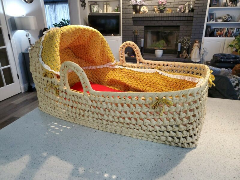LARGE Woven Baby Moses Basket Palm 32 x 21 Natural Materials Handmade