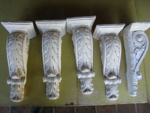 (1) Architectural ornate PLASTER CORBELS Acanthus shelf brackets 12""