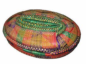 colorful handmade ethiopian basket with lid ethiopia african arts amp crafts ebay. Black Bedroom Furniture Sets. Home Design Ideas