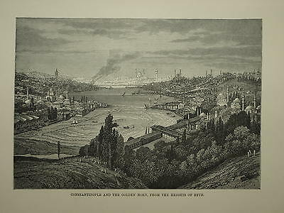 ISTANBUL. CONSTANTINOPLE AND THE GOLDEN HORN. ENGRAVED SCENE CIRCA 1880