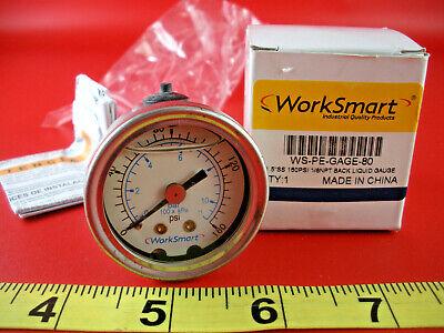 Worksmart WS-PE-GAGE-80 Pressure Gauge 1.5 SS 1-160 Psi 1/8 NPT Back Liquid New - $29.00