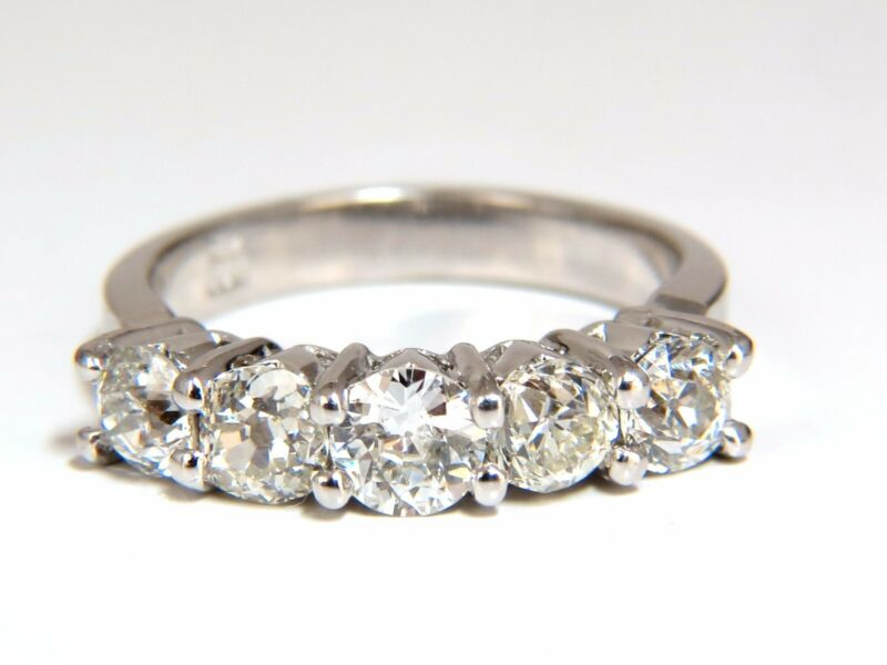 1.78ct Natural Round Diamond 5 Band Ring 14kt Petite Transitional Cut