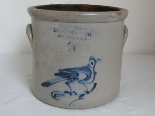 Antique New York Stoneware Co. Fort Edward, NY Cobalt Blue Bird Crock No.2