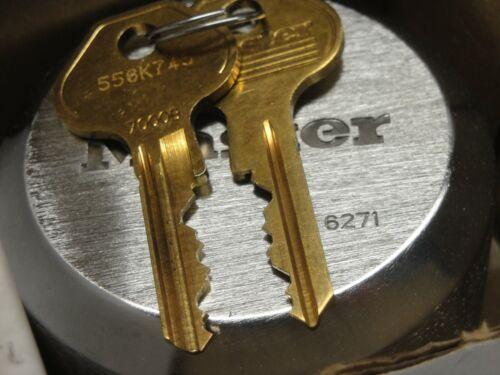 "Master Lock 6271Ka Keyed Padlock puck 2-7/8""W hidden shackle"
