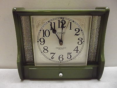 VINTAGE MID CENTURY WESTCLOX ELECTRIC CHIME KITCHEN WALL CLOCK