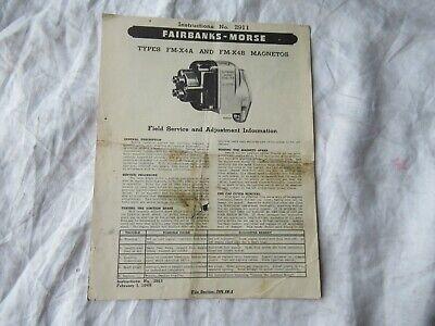 1949 Fairbanks-morse Fm-x4a Fm-x4b Magnetos Operators Instruction Manual