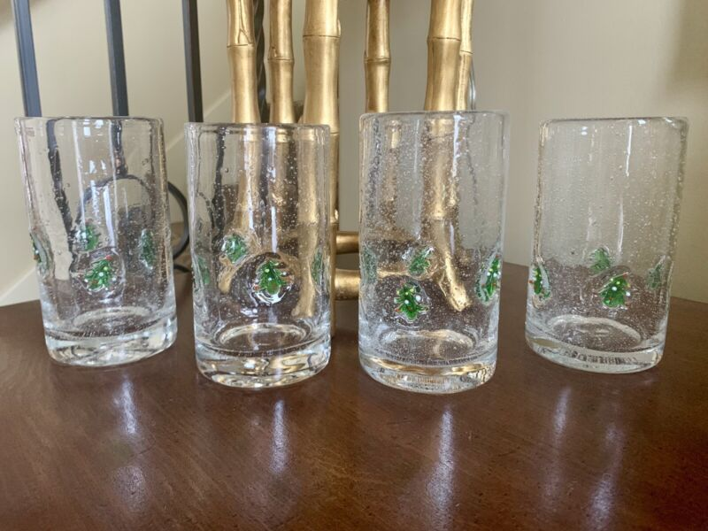 Vtg Set Of 4 Hand Blown Clear Glass Tumblers With Christmas Tree Embedded Design