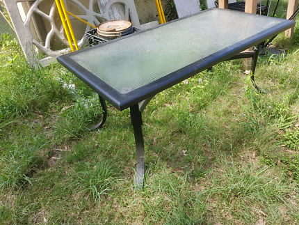 Glass & metal patio coffee table