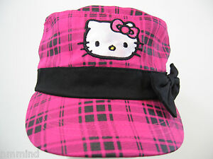 Girls 5-8 Hello Kitty Pink Black Cap Hat with Bow & Embroidered Kitty by Sanrio