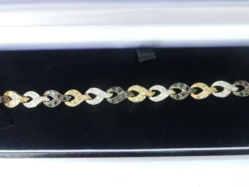 9ct Gold 1.65ct Black, White & Champagne Diamond Bracelet