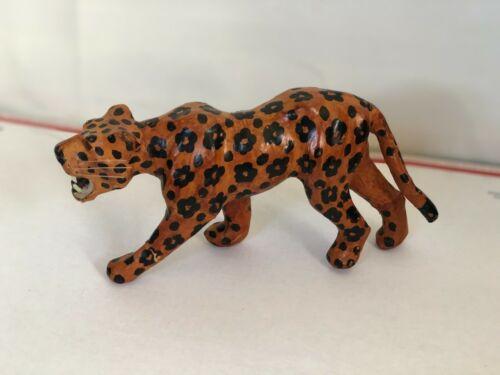"Vintage  Leather Cheetah / Leopard Figure   Made 3.5"" Tall"