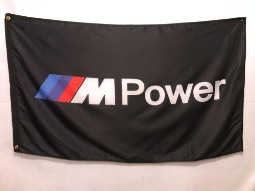 BMW Power M Black Flag Sign Banner - M1 M2 M3 M4 M5 M6 Roadster Coupe X5 X6 E30