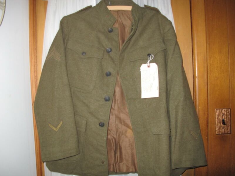 WW1 US Army Wool Service coat 1907 Pattern 27th Div Service & Wound Stripes