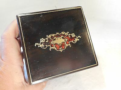 Antique French Ebonised  Tea Caddy Box , Boulle Type   ref 2955
