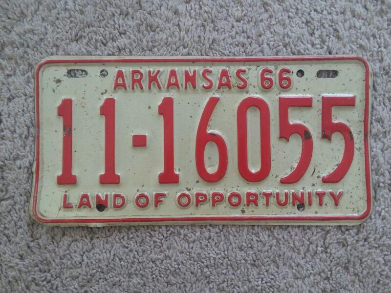 Arkansas 1966 License Plate